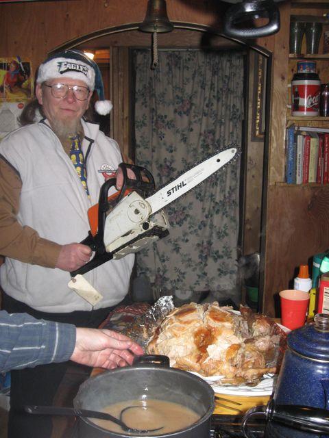 Carving the turkey Alaskan style